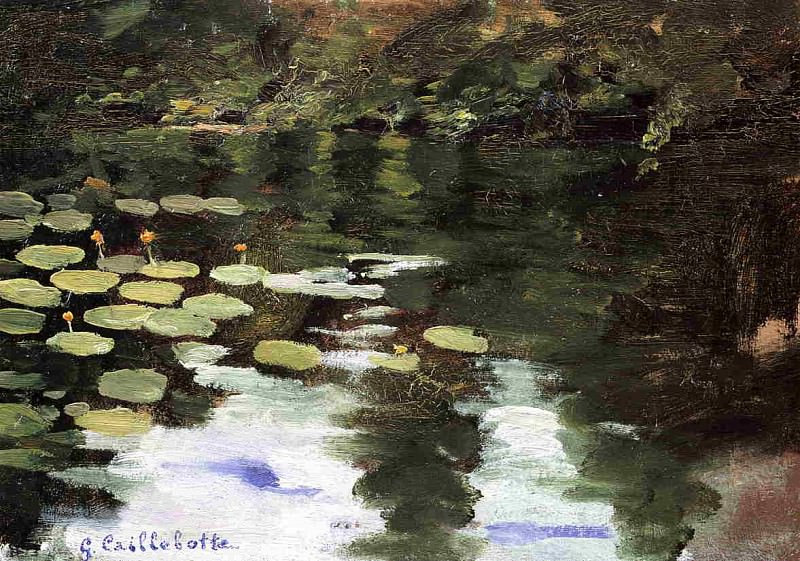 Yerres, on the Pond, Water Lilies. Gustave Caillebotte