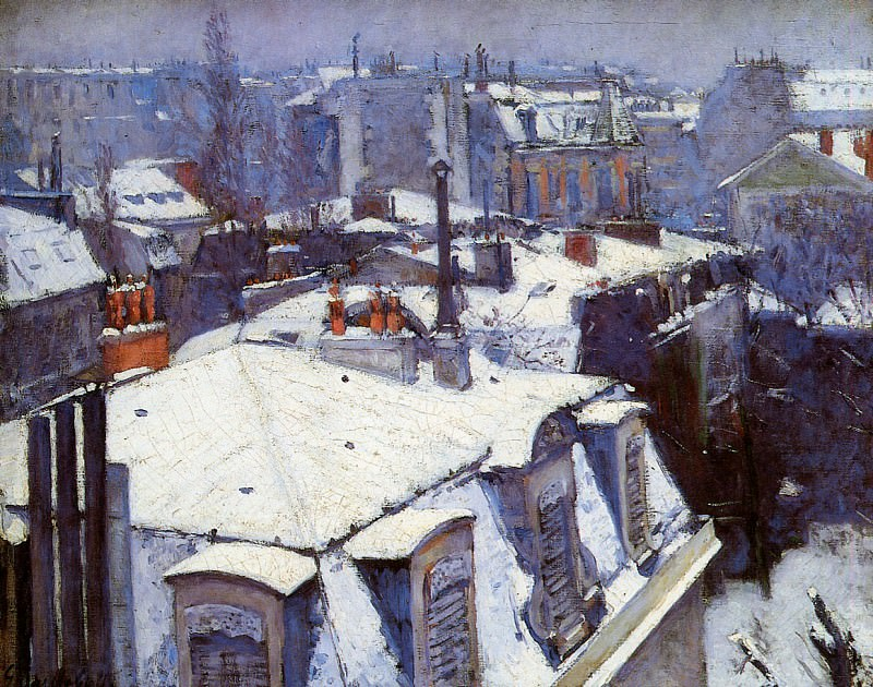 Snow covered roofs in Paris. Gustave Caillebotte