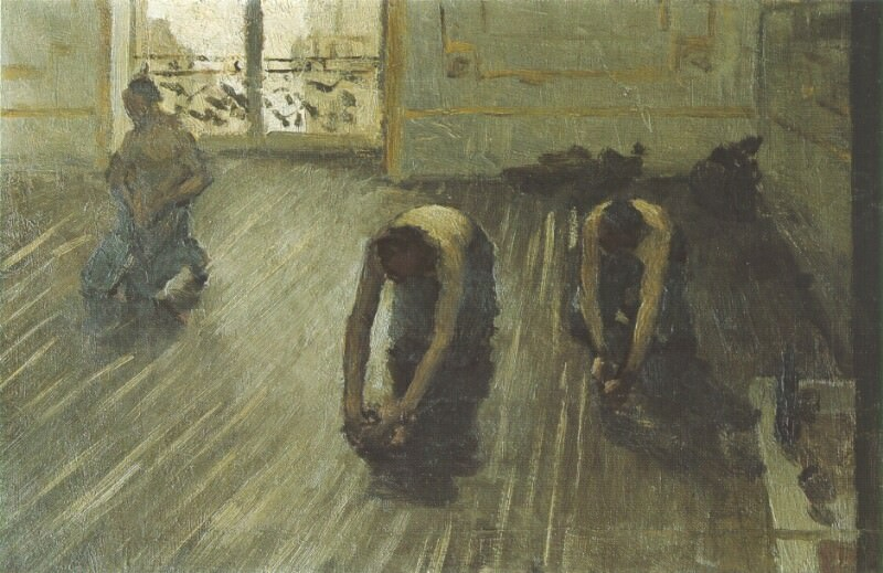 The Floor Scrapers (study) - 1875. Gustave Caillebotte