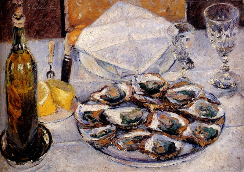 Still Life Oysters. Gustave Caillebotte
