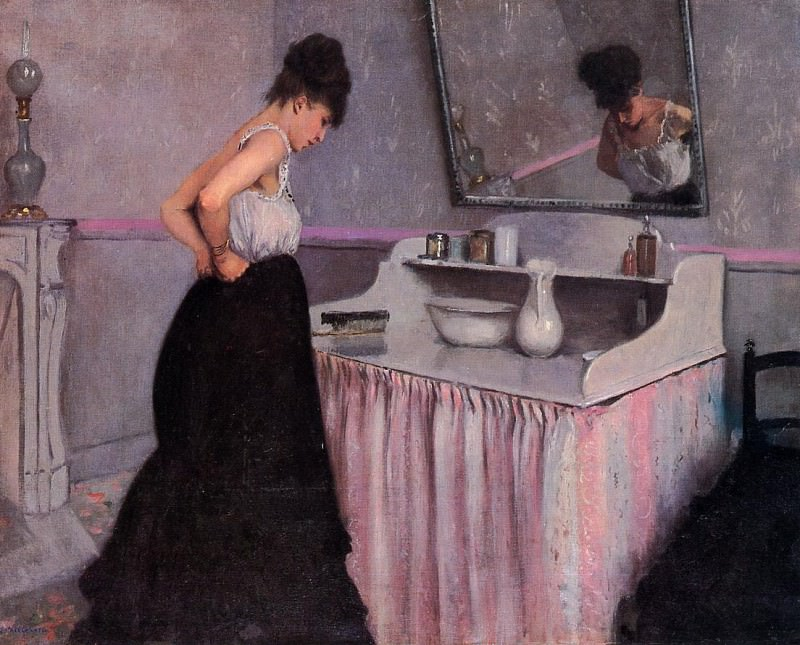 Woman at a Dressing Table - 1873. Gustave Caillebotte