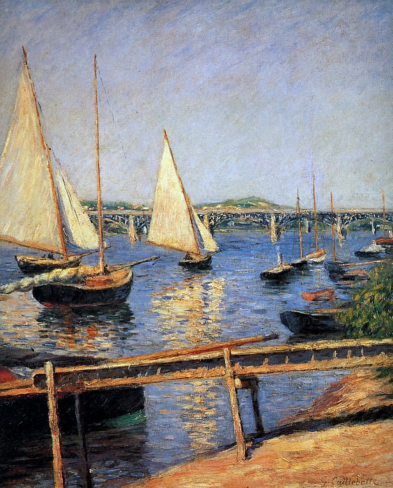 Sailing boats at Argentueil. Gustave Caillebotte