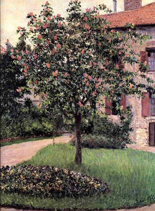 Petit Gennevilliers, Facade, Southeast of the Artists Studio, Overlooking the Garden, Spring. Gustave Caillebotte