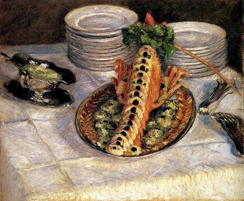 Still Life With Crayfish. Gustave Caillebotte