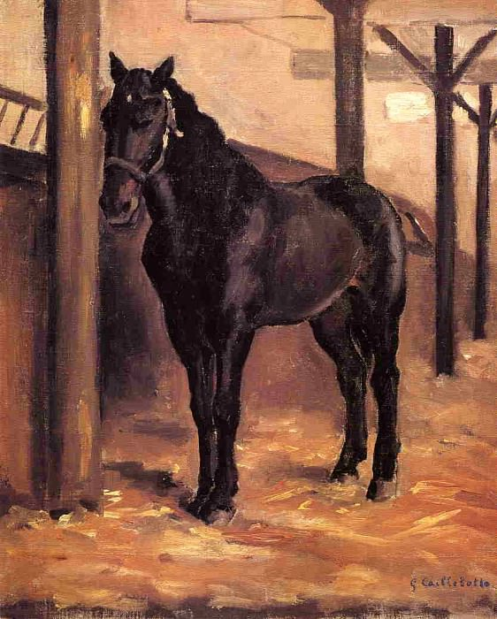 Yerres, Dark Bay Horse in the Stable. Gustave Caillebotte