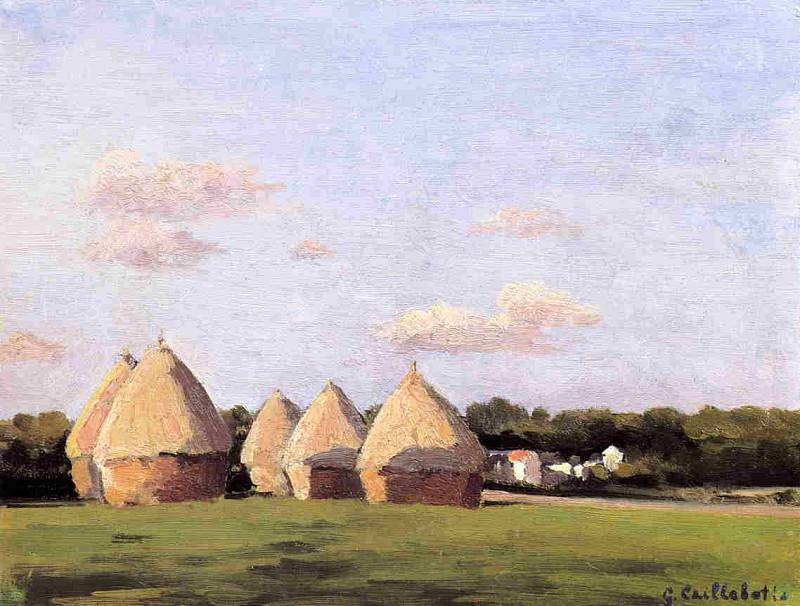 Harvest, Landscape with Five Haystacks. Gustave Caillebotte