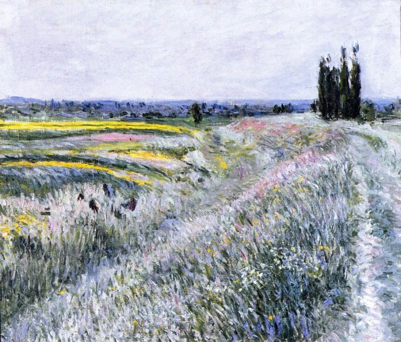 The Plain at Gennevilliers, Group of Poplars - 1883. Гюстав Кайботт