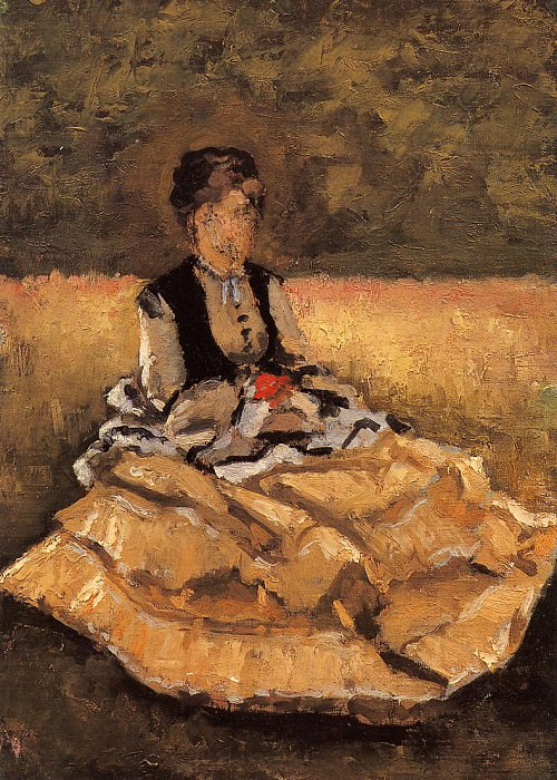Woman Seated on the Grass (fragment) - 1874. Gustave Caillebotte