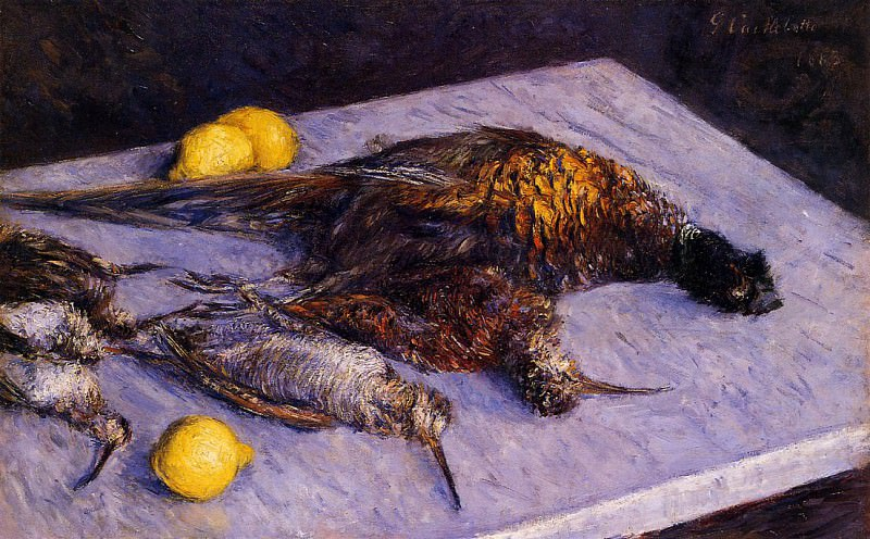 Pheasants and Woodcocks on a Marble Table - 1883. Gustave Caillebotte