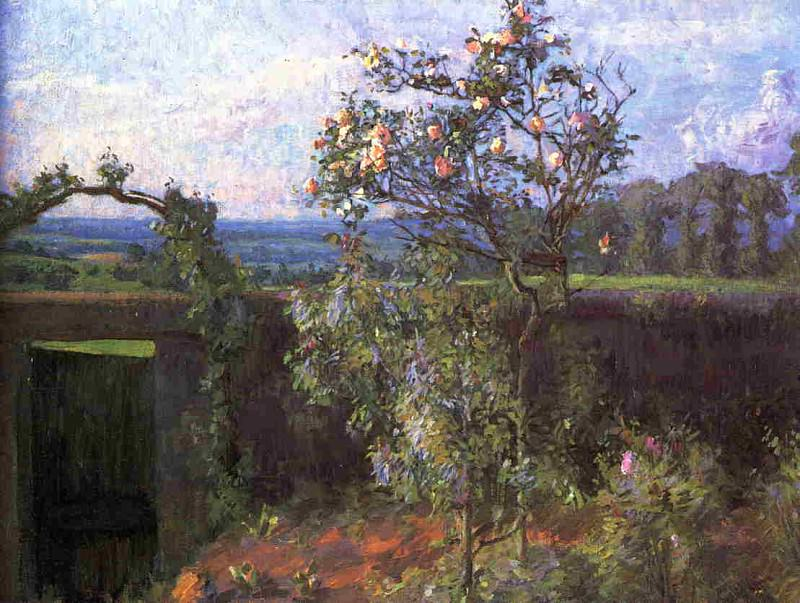 Landscape near Yerres (also known as View of the Yerres Valley and the Garden of the Artists Family Property) - 1877. Gustave Caillebotte
