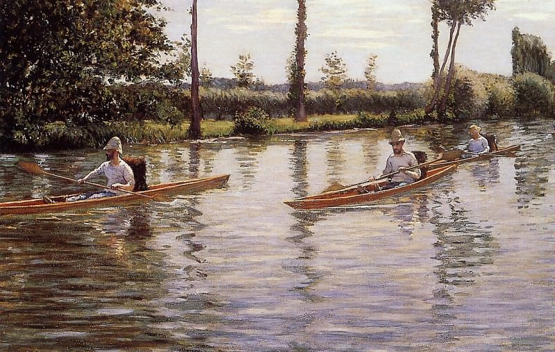 Perissoires sur l-Yerres aka Boating on the Yerres. Gustave Caillebotte