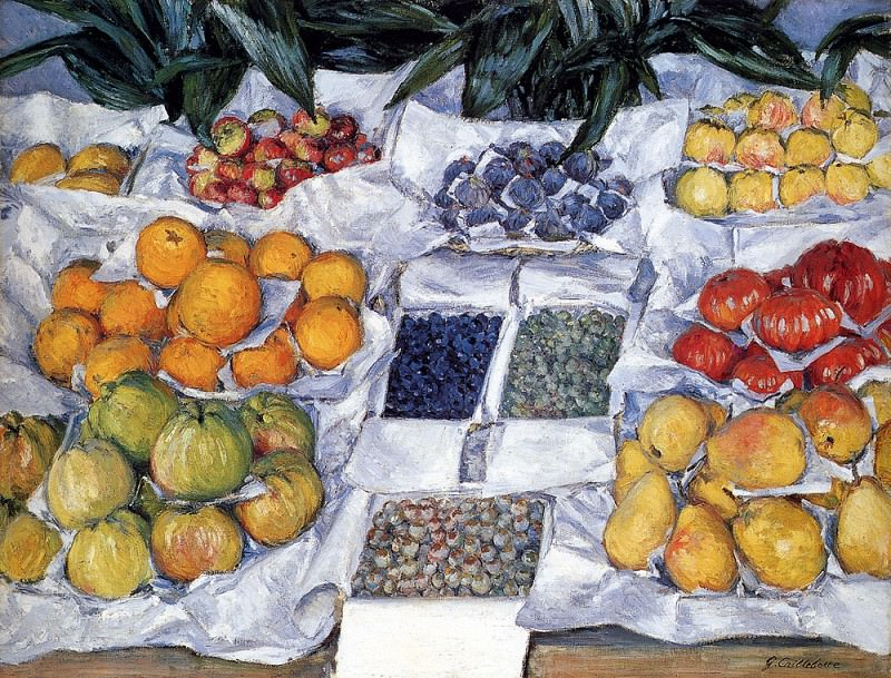 Fruit Displayed On A Stand. Gustave Caillebotte