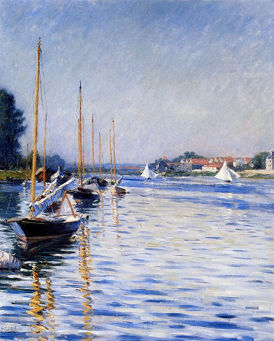Boats on the Seine. Gustave Caillebotte