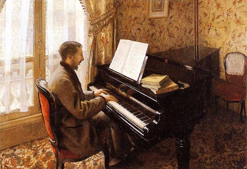 Young Man Playing the Piano - 1876. Гюстав Кайботт