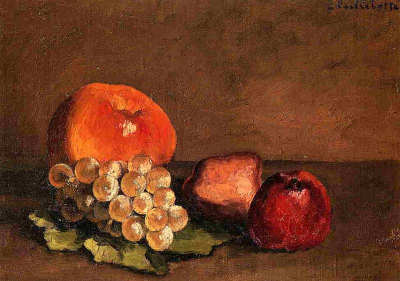 Peaches, Apples and Grapes on a Vine Leaf. Gustave Caillebotte