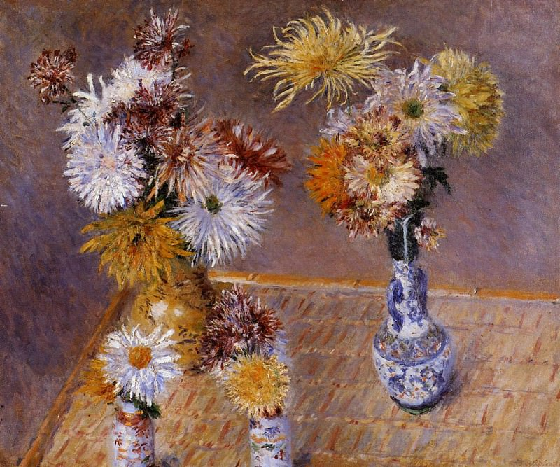 Four Vases of Chrysanthemums - 1893. Gustave Caillebotte