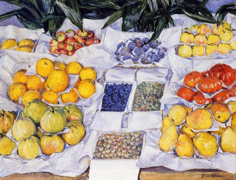 Fruit Displayed on a Stand - 1881 - 1882. Gustave Caillebotte