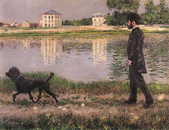 Richard Gallo and His Dog at Petit Gennevilliers - 1884. Гюстав Кайботт