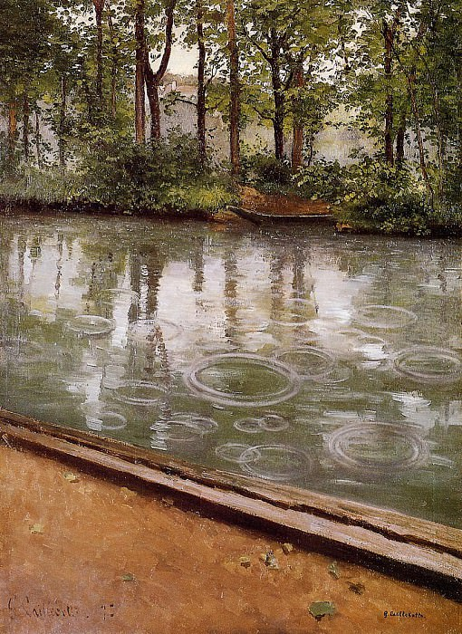 The Yerres, Rain (also known as Riverbank in the Rain) - 1875. Гюстав Кайботт
