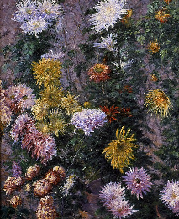 White and Yellow Chrysanthemums Garden at Petit Gennevilliers. Gustave Caillebotte