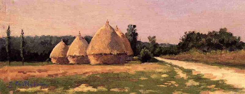 Landscape with Haystacks - 1874. Гюстав Кайботт