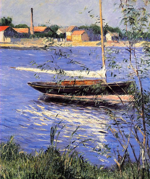Anchored Boat on the Seine at Argenteuil - 1888. Gustave Caillebotte