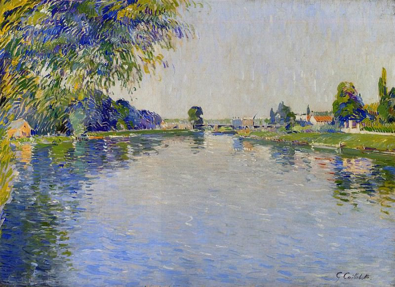 View of the Seine in the Direction of the Pont de Bezons - 1892. Гюстав Кайботт