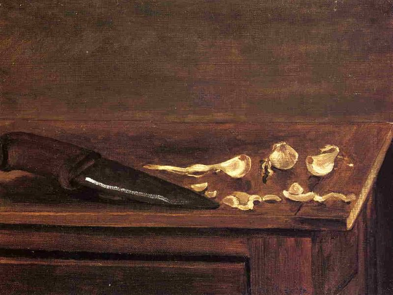 Garlic Cloves and Knife on the Corner of a Table. Gustave Caillebotte