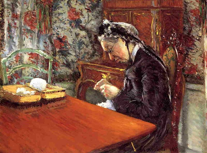 Portrait of Madame Boissiere Knitting - 1877. Gustave Caillebotte