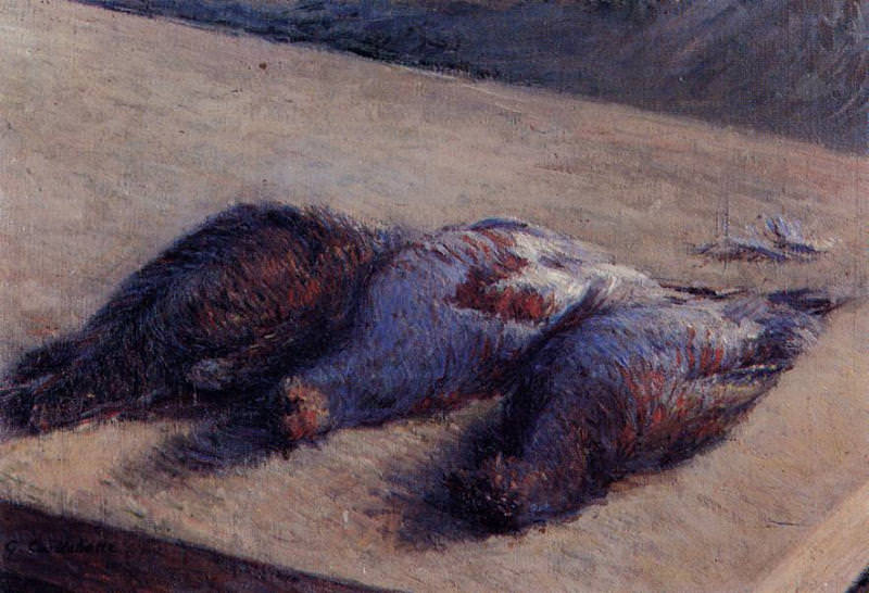 Three Partridges on a Table - 1880. Gustave Caillebotte