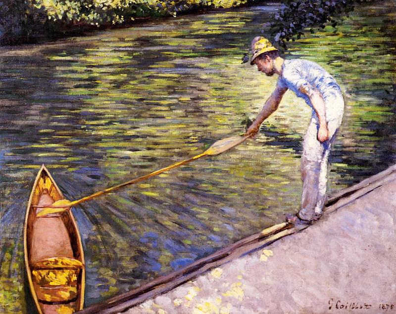Boater Pulling on His Perissoire. Gustave Caillebotte