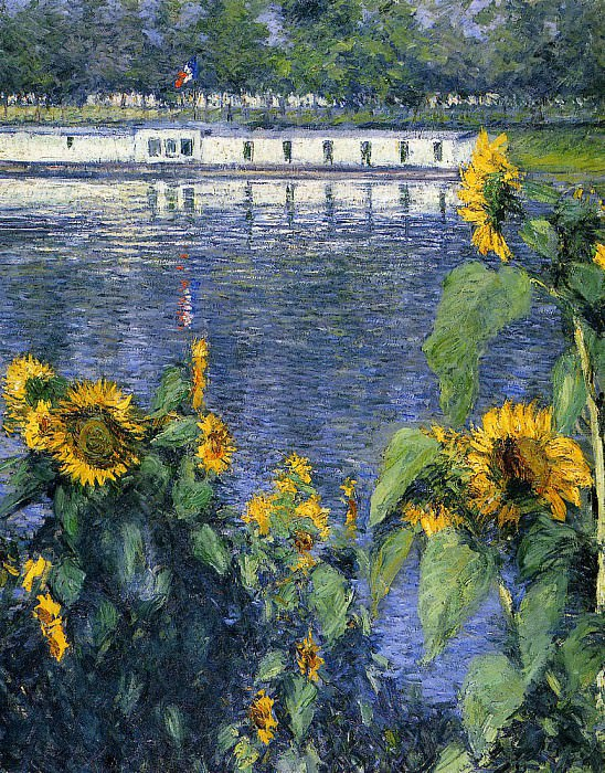 Sunflowers on the Banks of the Seine. Gustave Caillebotte