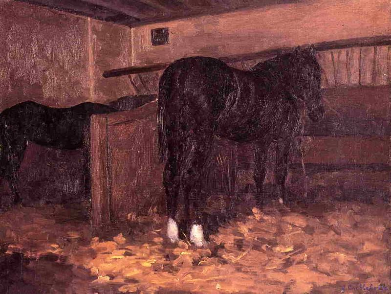 Horses in the Stable - 1874. Гюстав Кайботт