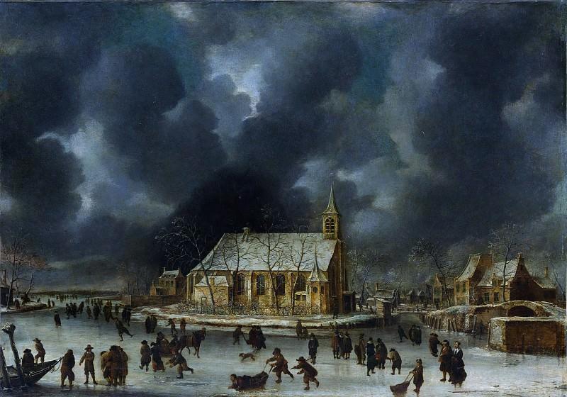 Johannes Beerstraten - Skating at Sloten, near Amsterdam. Metropolitan Museum: part 1