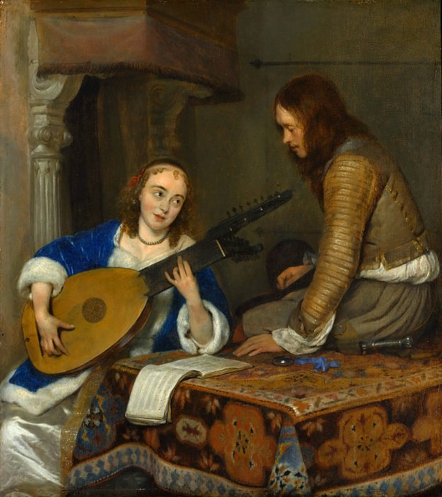 Gerard ter Borch - A Woman Playing the Theorbo-Lute and a Cavalier. Metropolitan Museum: part 1
