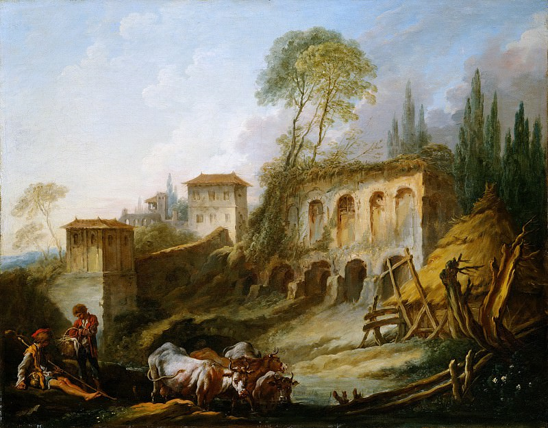 François Boucher - Imaginary Landscape with the Palatine Hill from Campo Vaccino. Metropolitan Museum: part 1