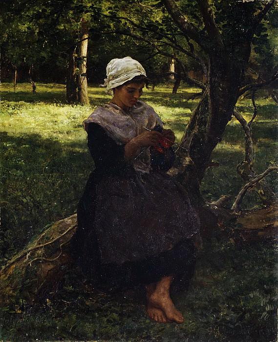 Jules Breton - A Peasant Girl Knitting. Metropolitan Museum: part 1