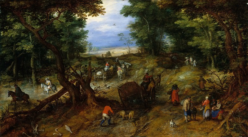 Jan Brueghel the Elder - A Woodland Road with Travelers. Metropolitan Museum: part 1