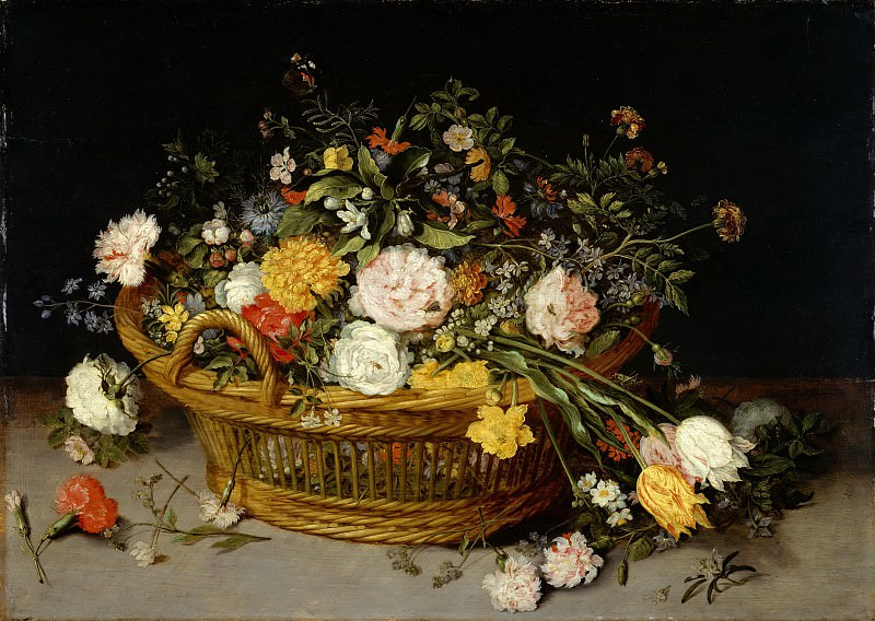 Jan Brueghel the Younger - A Basket of Flowers. Metropolitan Museum: part 1