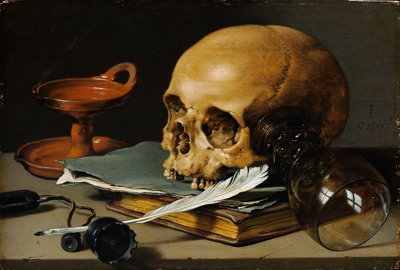 Pieter Claesz - Still Life with a Skull and a Writing Quill. Metropolitan Museum: part 1
