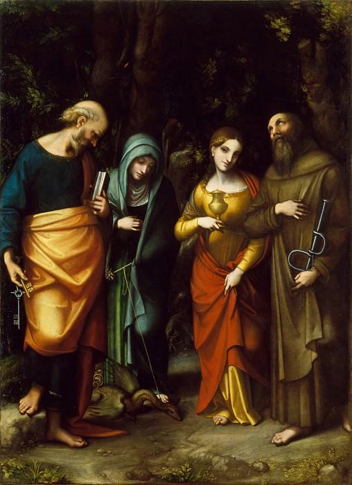 Correggio (Italian, Correggio, active by 1514–died 1534 Correggio) - Saints Peter, Martha, Mary Magdalen, and Leonard. Metropolitan Museum: part 1