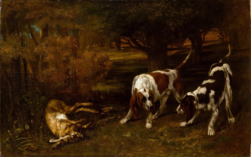 Gustave Courbet - Hunting Dogs with Dead Hare. Metropolitan Museum: part 1