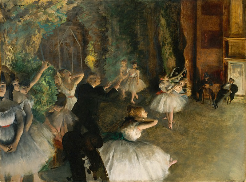 Edgar Degas - The Rehearsal of the Ballet Onstage. Metropolitan Museum: part 1