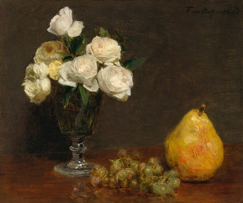 Henri Fantin-Latour - Still Life with Roses and Fruit. Metropolitan Museum: part 1