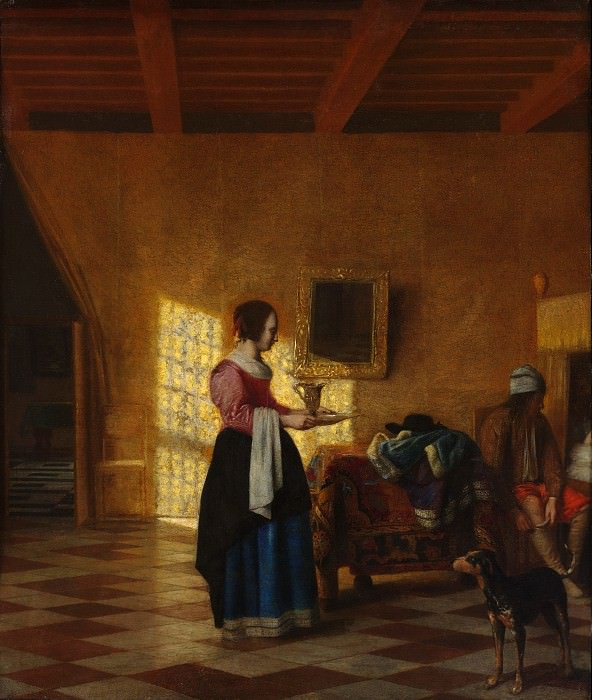 Pieter de Hooch - Woman with a Water Pitcher, and a Man by a Bed (The Maidservant). Metropolitan Museum: part 1