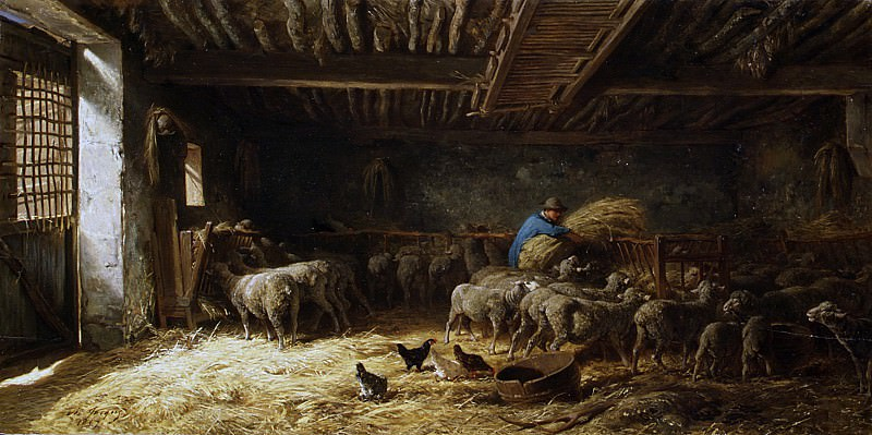 Charles Jacque - The Sheepfold. Metropolitan Museum: part 1