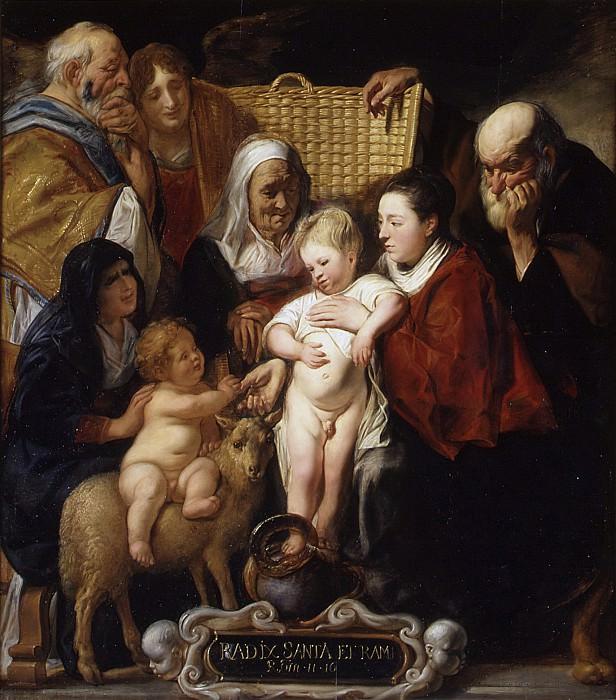 Яков Йорданс - Святое семейство со Святой Анной, юным Иоанном Крестителем и его родителями. Музей Метрополитен: часть 1