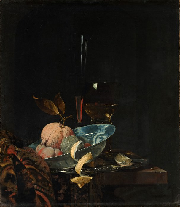 Willem Kalf - Still Life with Fruit, Glassware, and a Wanli Bowl. Metropolitan Museum: part 1