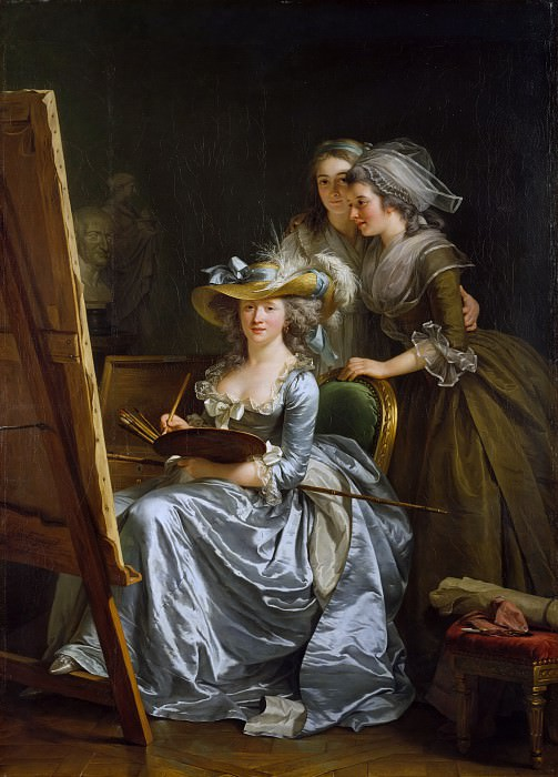Аделаида Лабиль-Гияр - Автопортрет с двумя учениками, Мари Габриэль Капет (1761-1818) и Мари Маргерит Карро де Роузмонд (умерла в 1788). Музей Метрополитен: часть 1