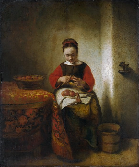 Nicolaes Maes - Young Woman Peeling Apples. Metropolitan Museum: part 1